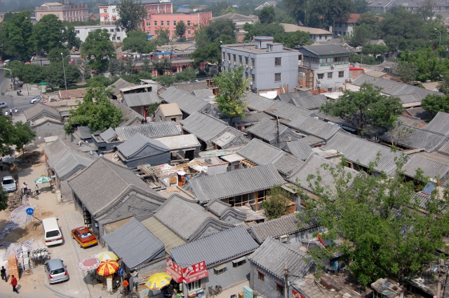 Hutong-Siedlung in der Nähe des Glockenturms