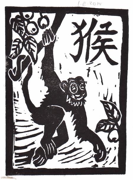 Affe, Linolschnitt von Irmgard Enzinger